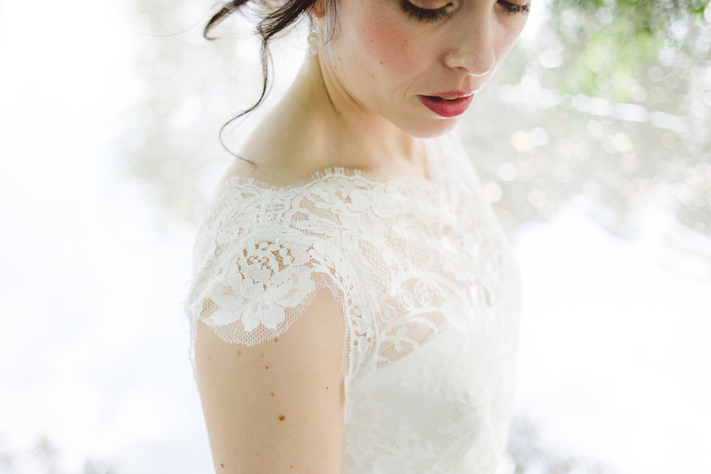 close up of bride lace dress
