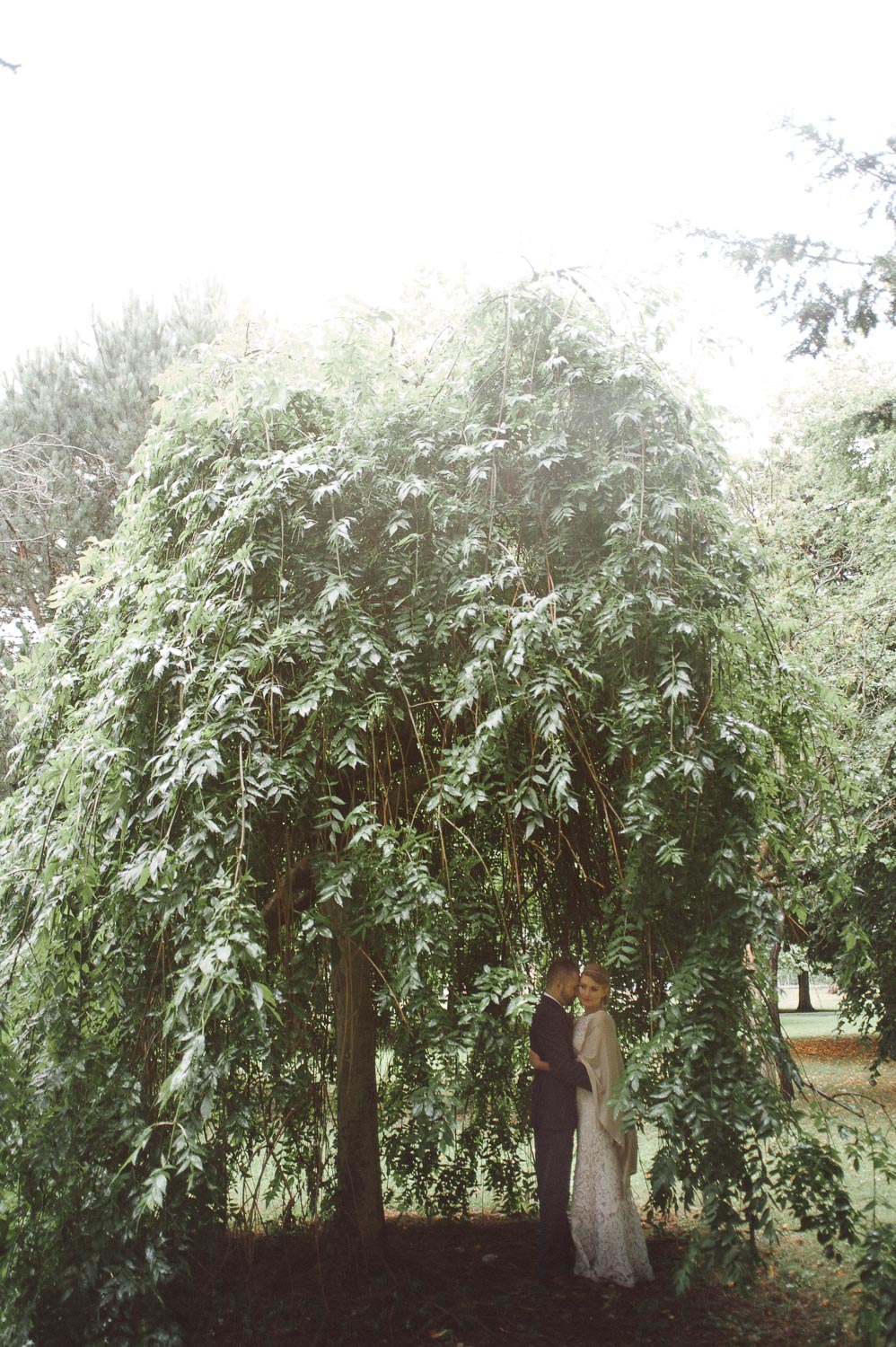 bride an groom under willow tree