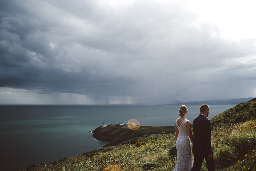 view of rain in in distance in howth head