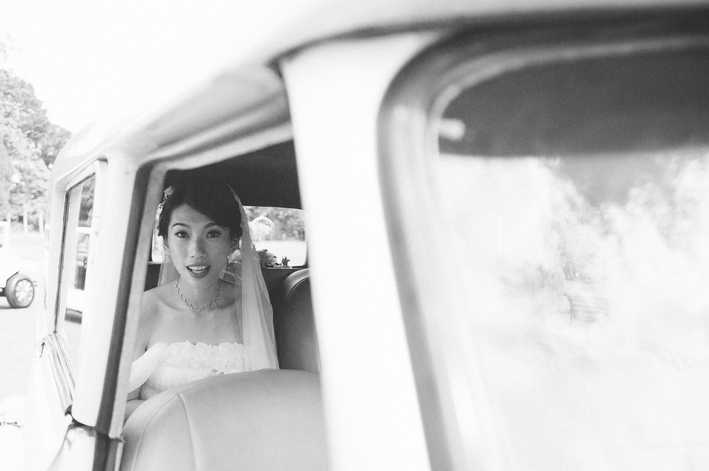 Bride in wedding car Parkanour Manor House Wedding.