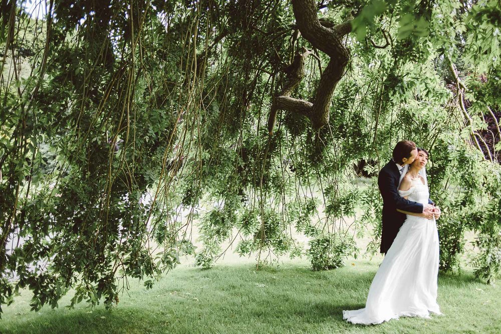 bride and groom under huge tree. Parkanour Manor House Wedding.