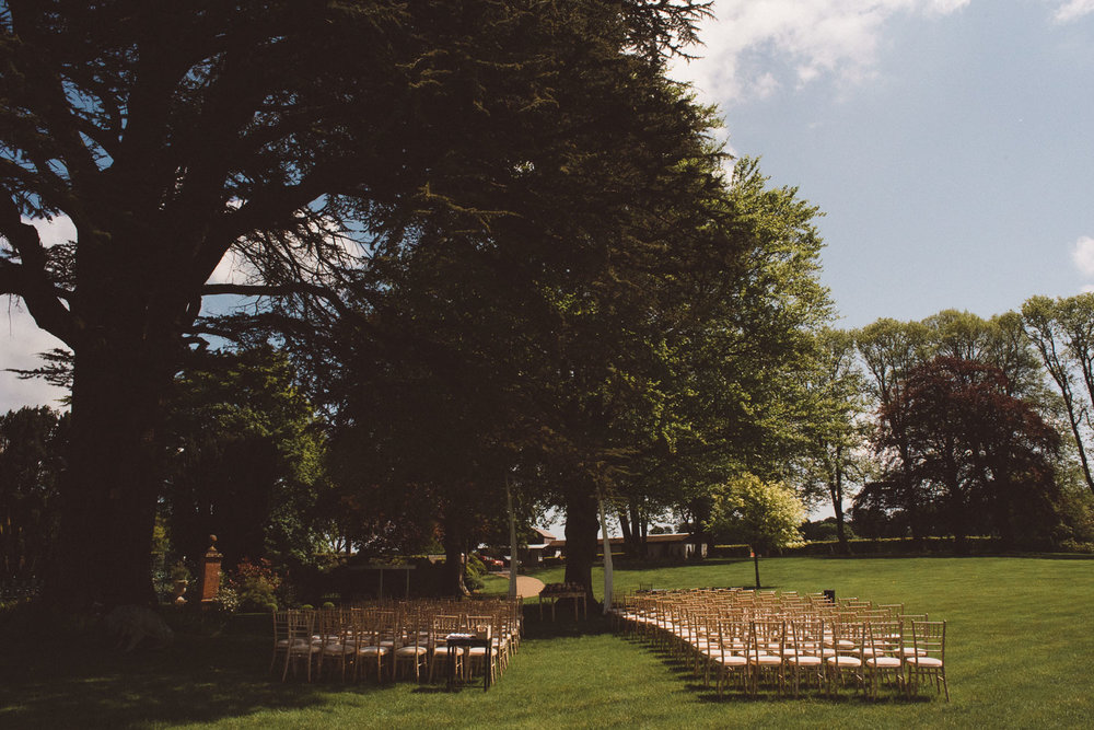 outdoor wedding set up at Tankardstown House