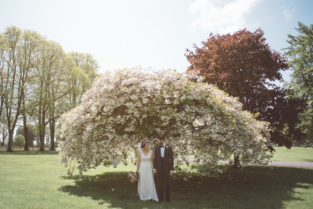 bride and groom standing in front of a cherry blossom tree