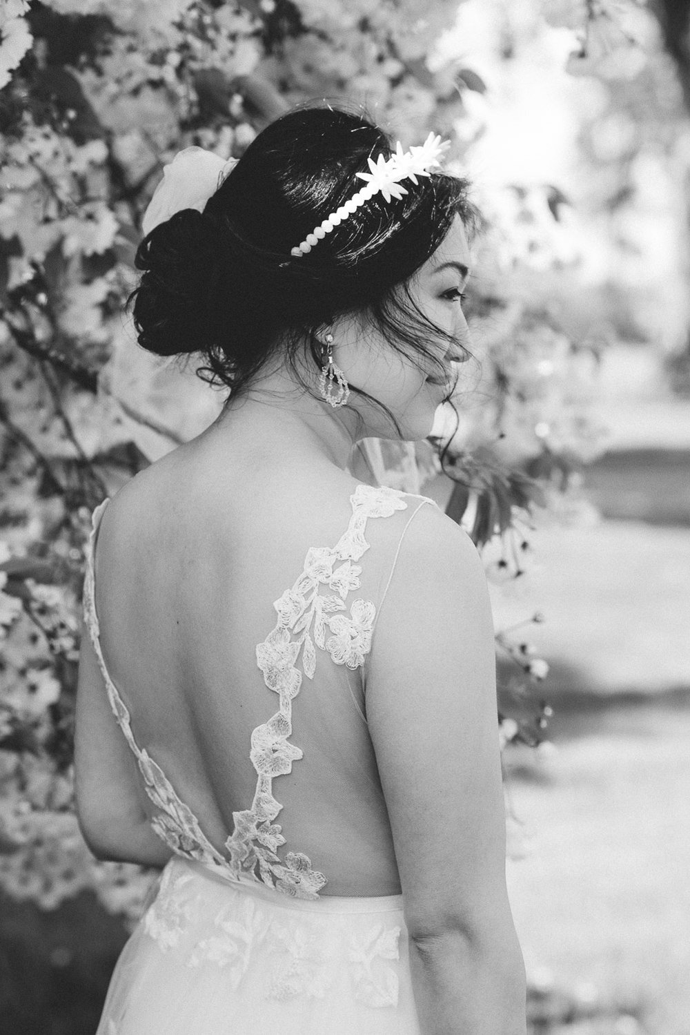 back view of bride and dress
