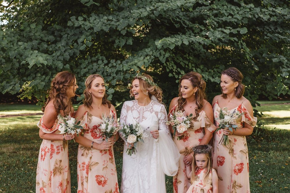 bride with bridesmaids at castle leslie wedding