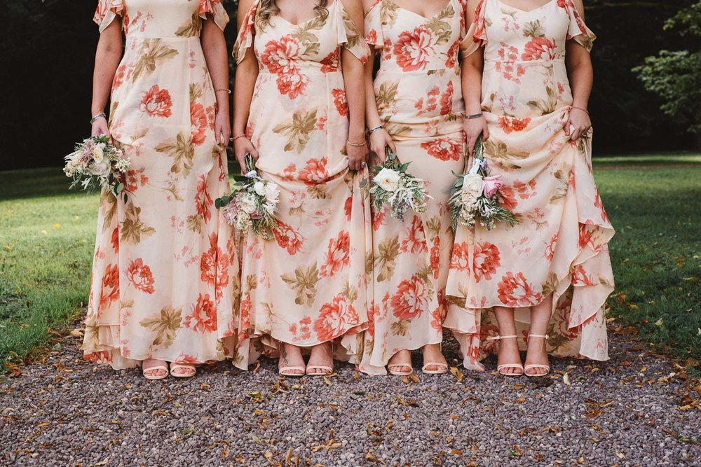 close up of bridesmaids dresses and shoes