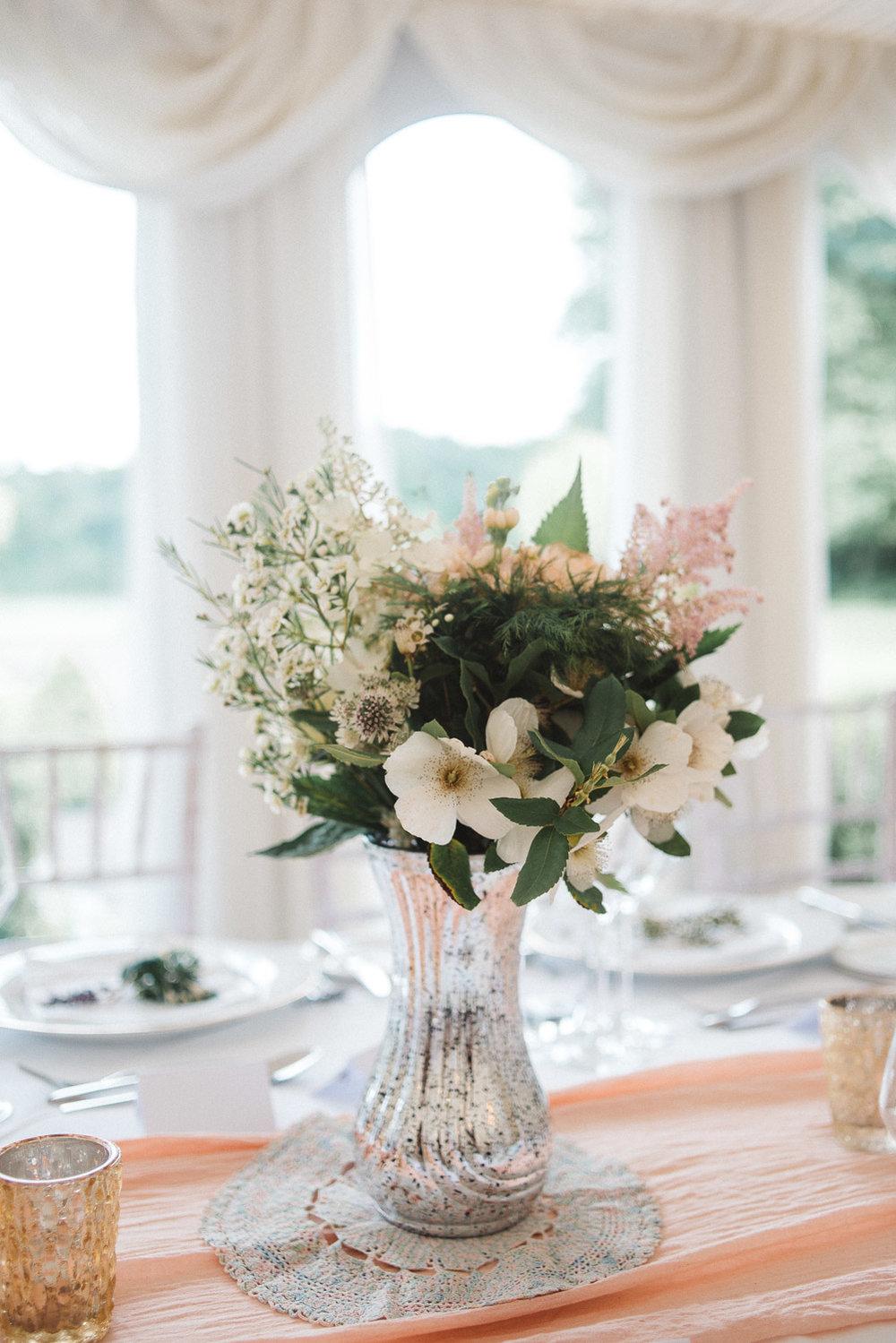Fresh flowers on dinner table