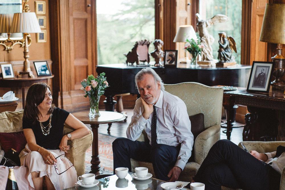 wedding guest drinks tea