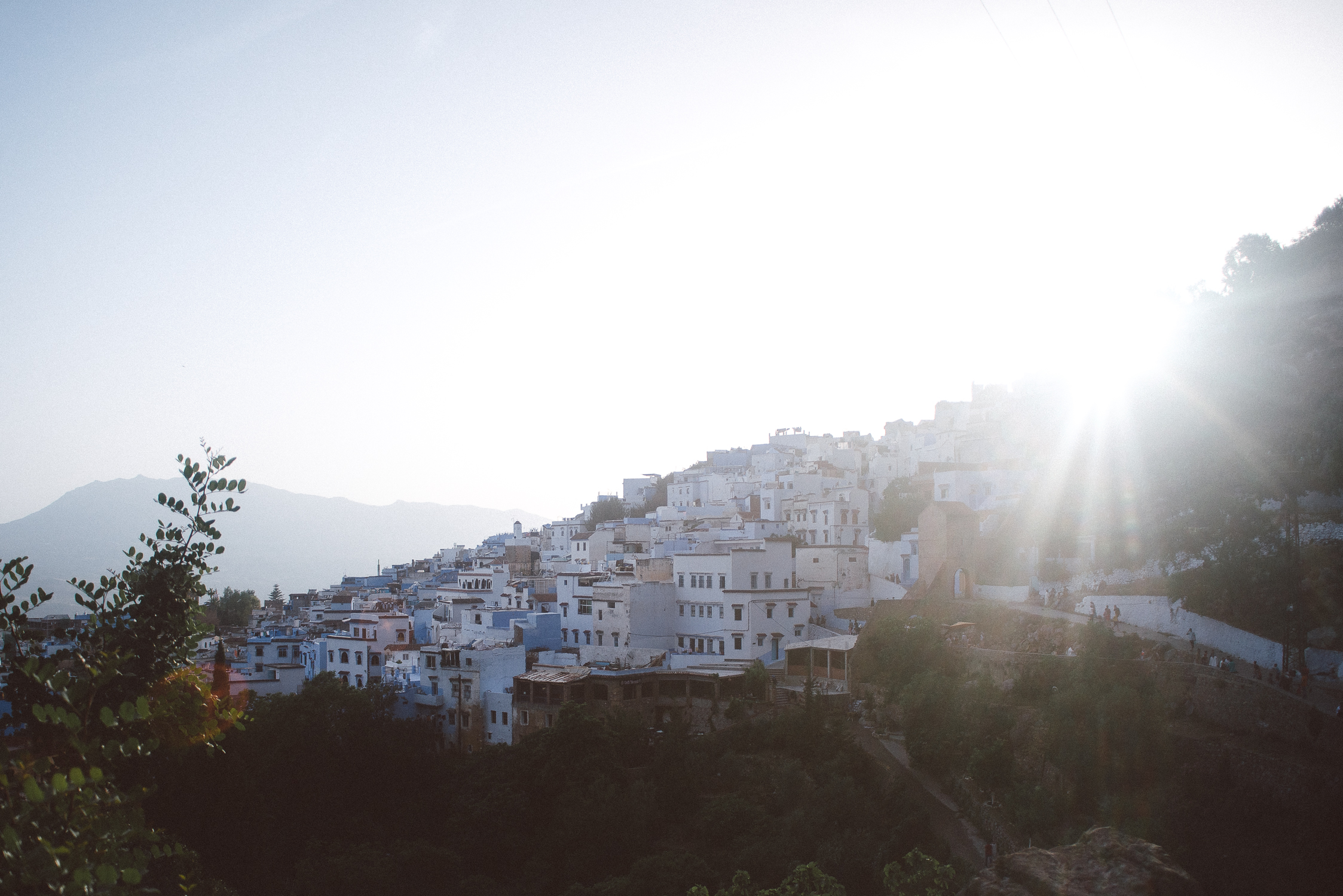landscape image over looking the town of Chefchaouen in Morocco, blue buildings