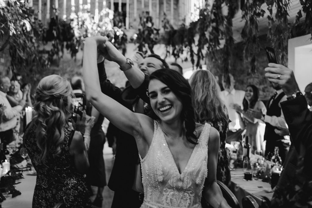 bride cheering coming into room