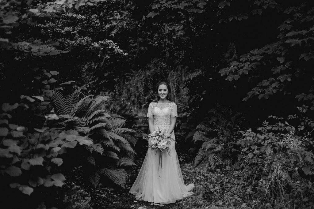 bride string among beautiful ferns