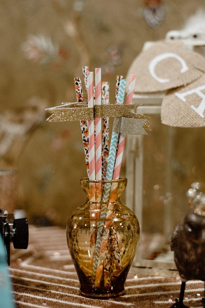 detail shot of straws