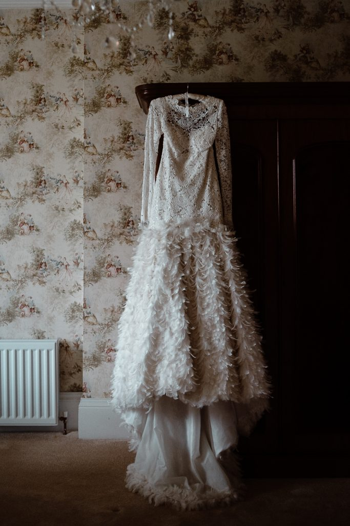 wedding dress hanging at Gracehall