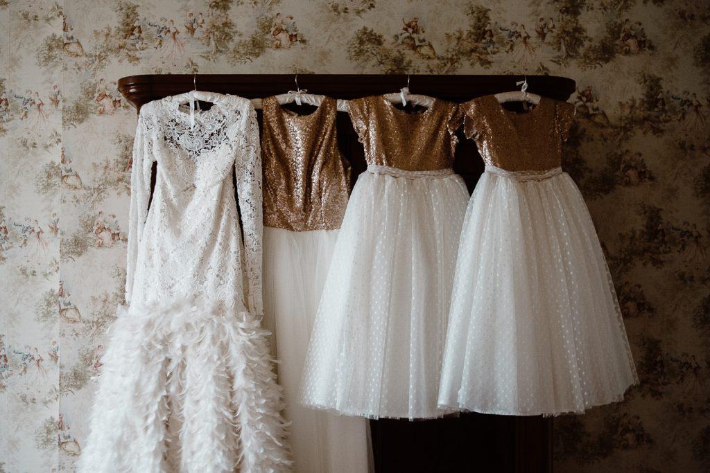 brides dress with bridesmaids dresses