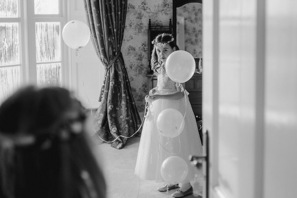 bridesmaid with balloons