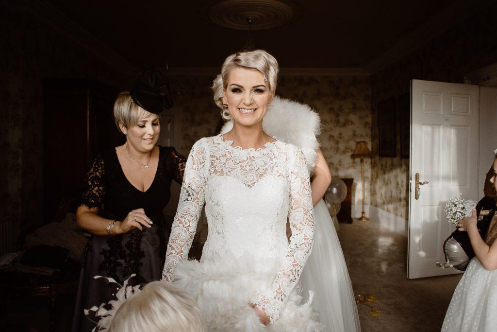 bride smiling into the camera
