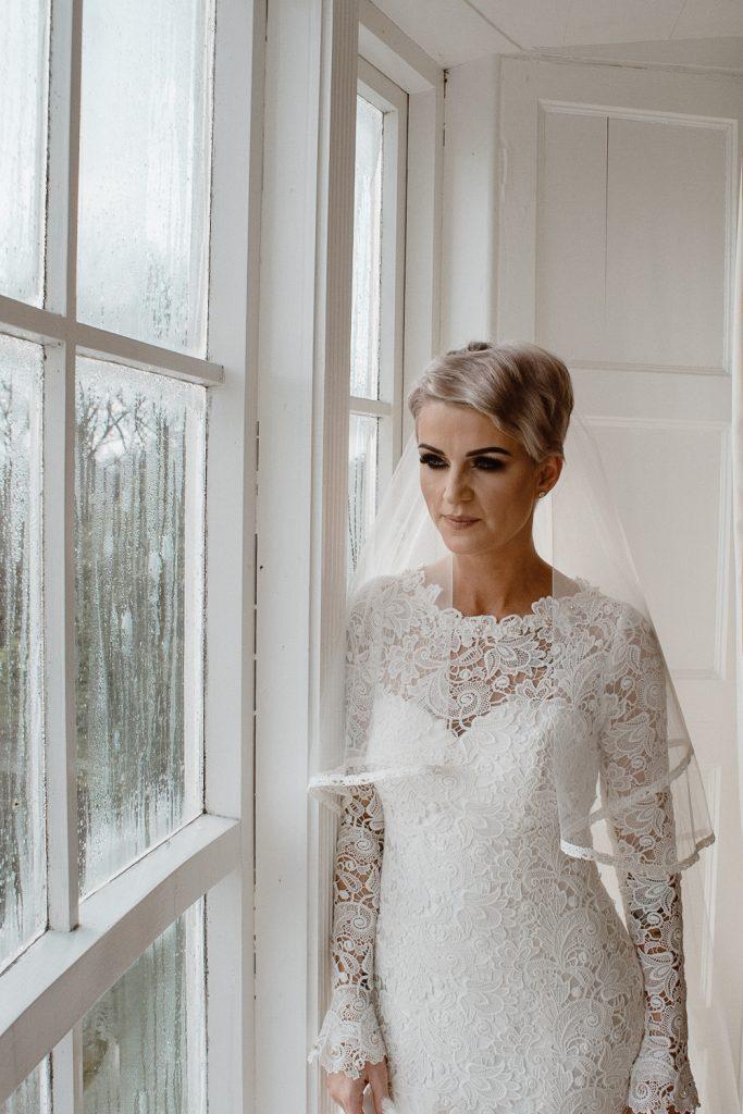 bridal portrait at window