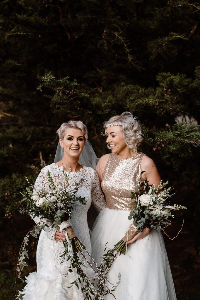 bride and bridesmaid at grace hall wedding
