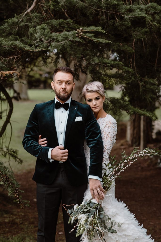 beautiful bride and groom portrait at grace hall
