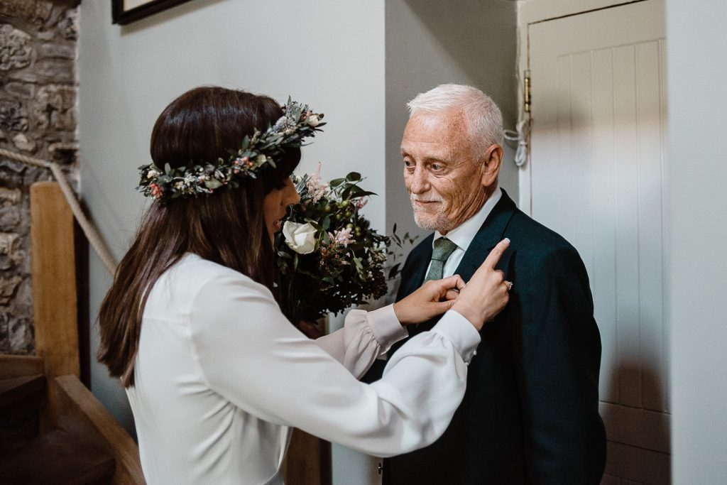 Proud father looking at his beautiful daughter on her wedding day.