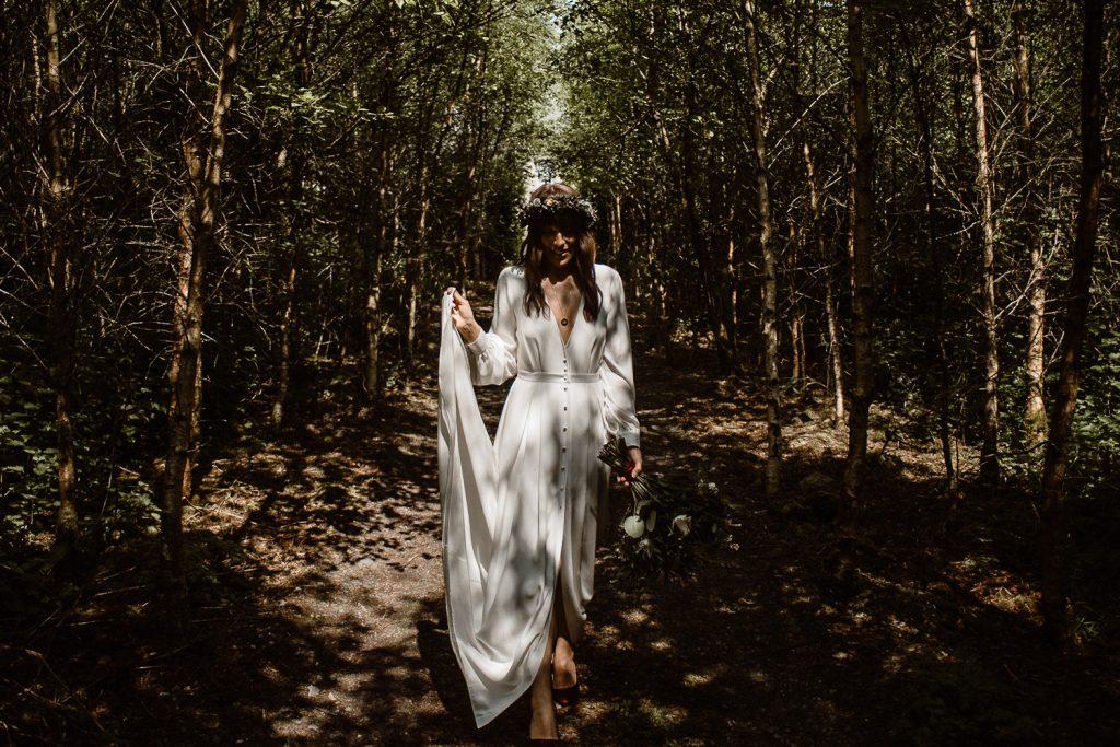 bride full length in dappled light