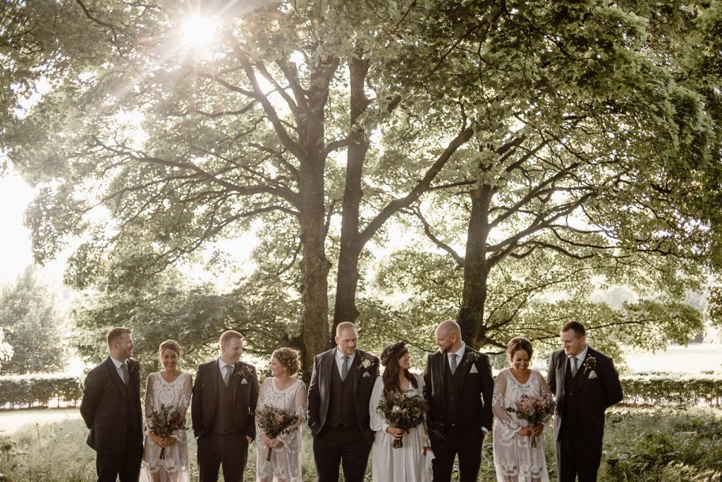 bridal party together at mount druid