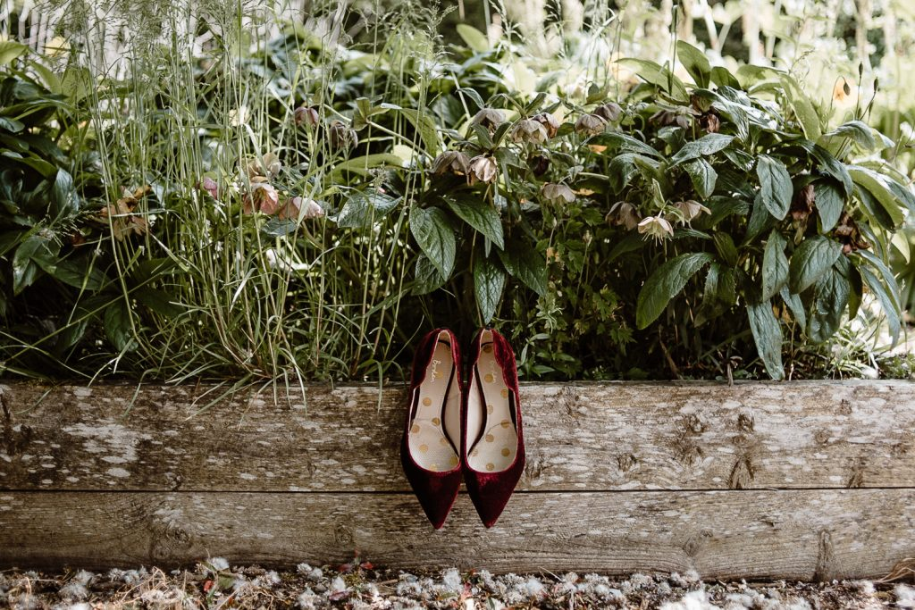 wedding shoes in nature