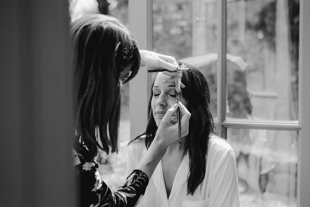 bride getting make up