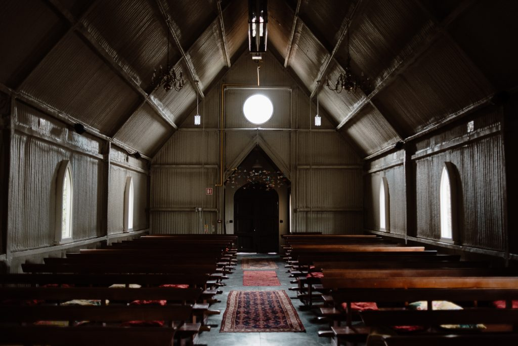 inside tin chapel at mount druid
