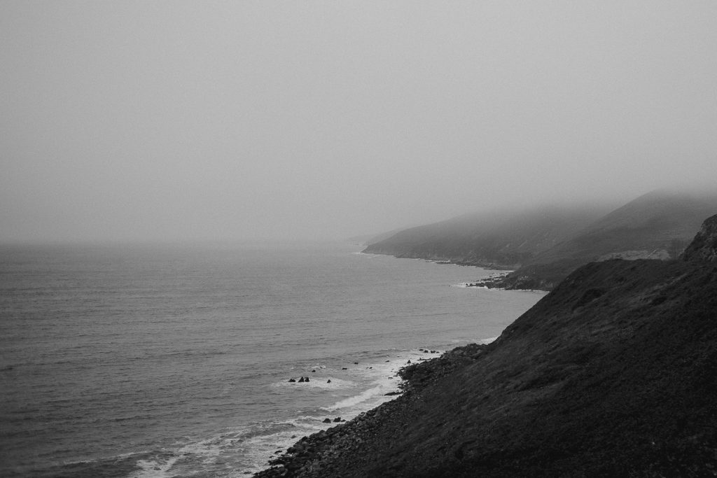 landscape of Dingle coastline, sea and mist.