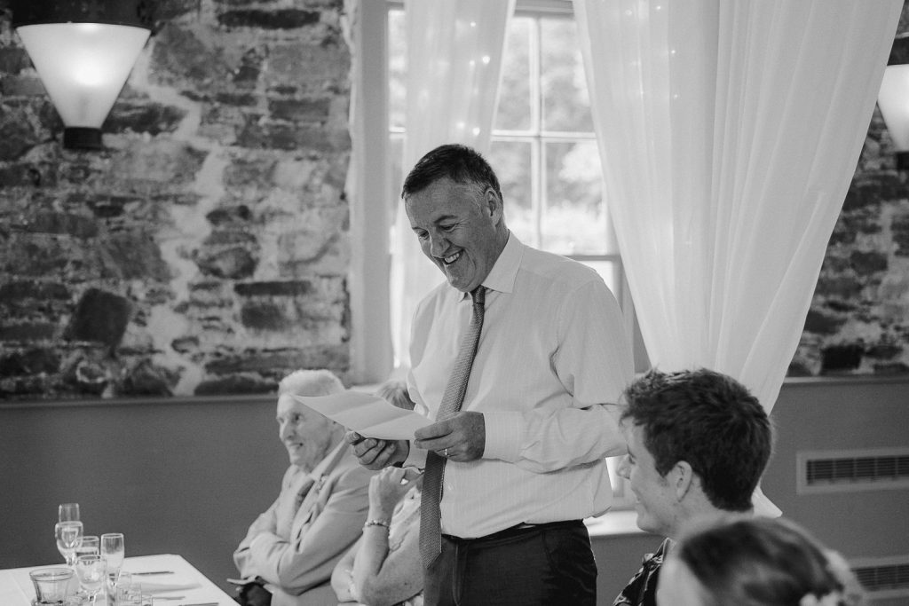 grooms father gives speech