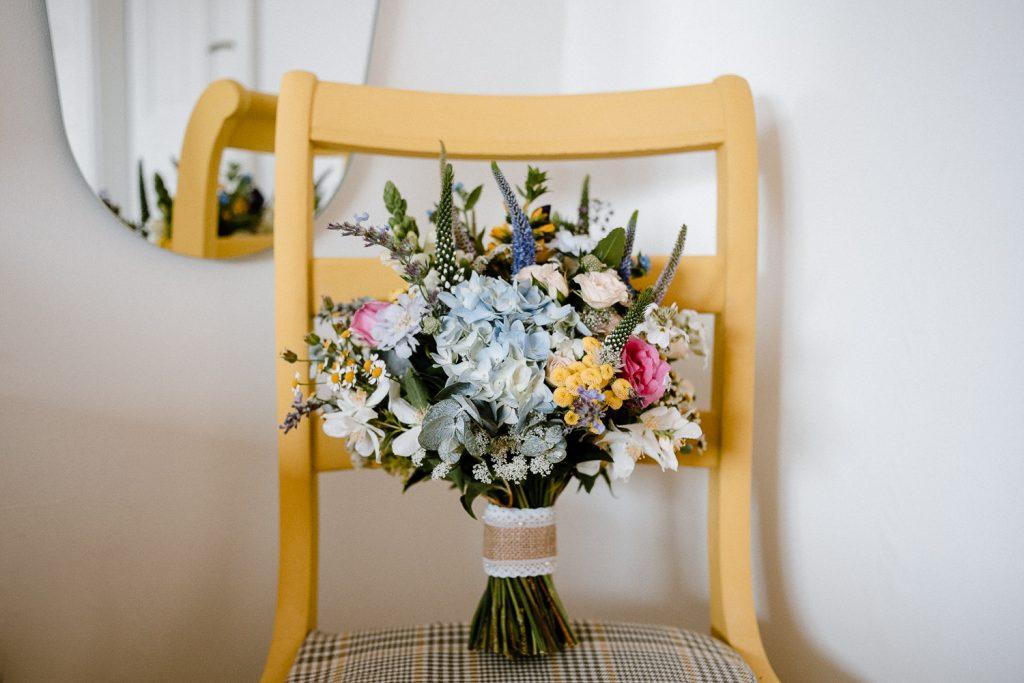 close up of brides flower