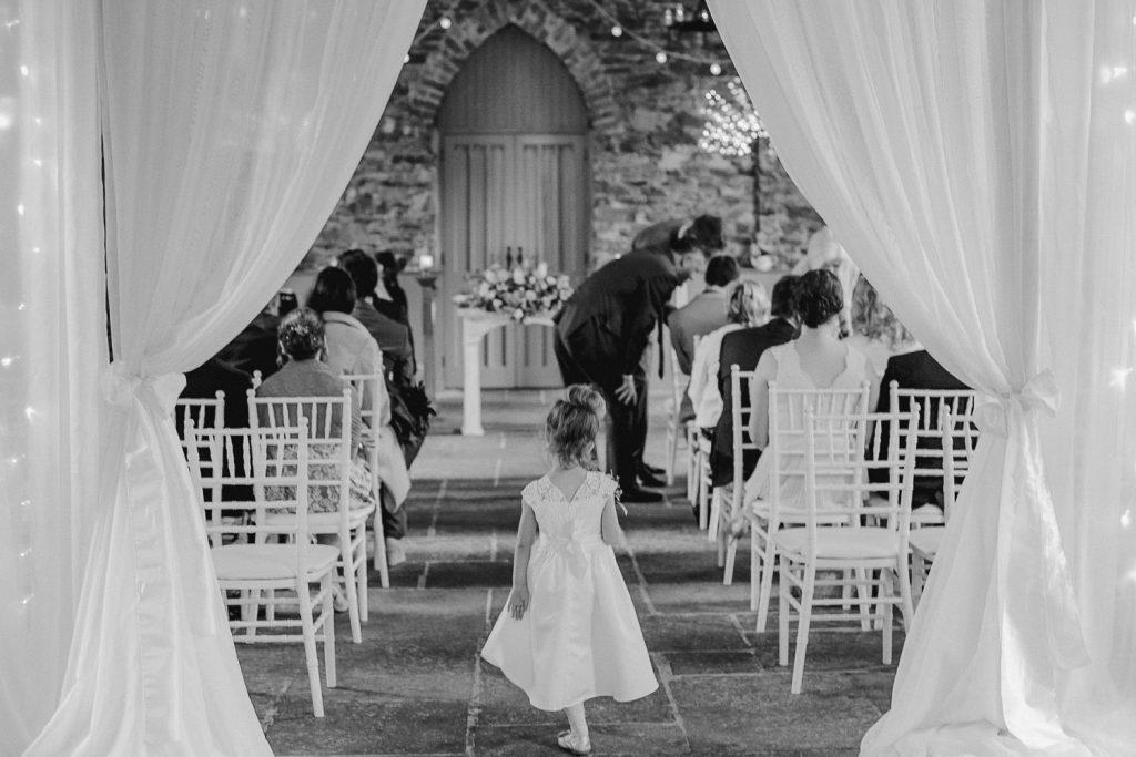 back of little flower girl Orange Tree House Wedding