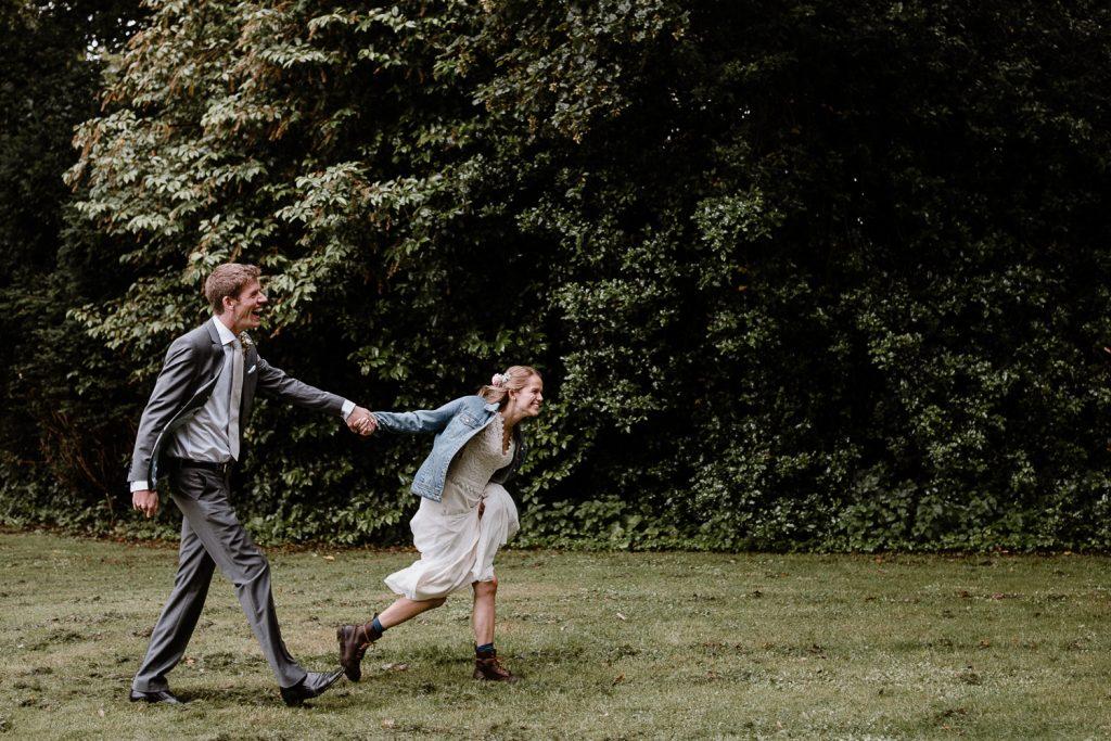 bride pulls groom ahead