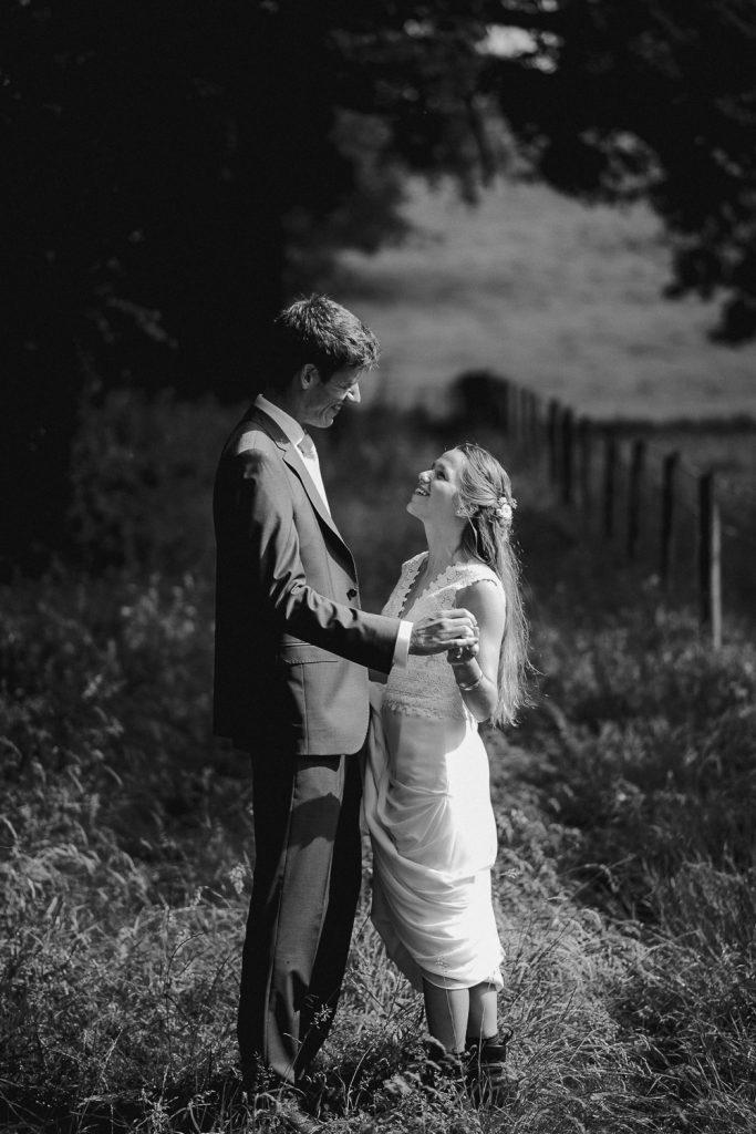 bride and groom enjoying the sunlight