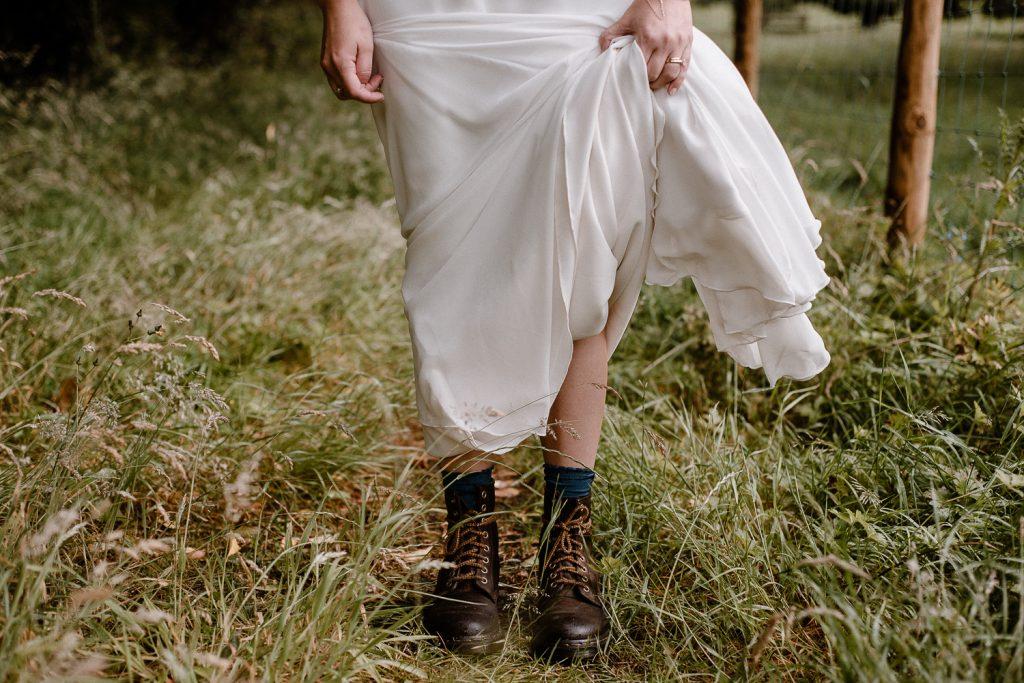 close up of brides boots