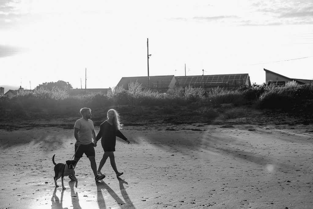 couple walking with boxer dog on beach