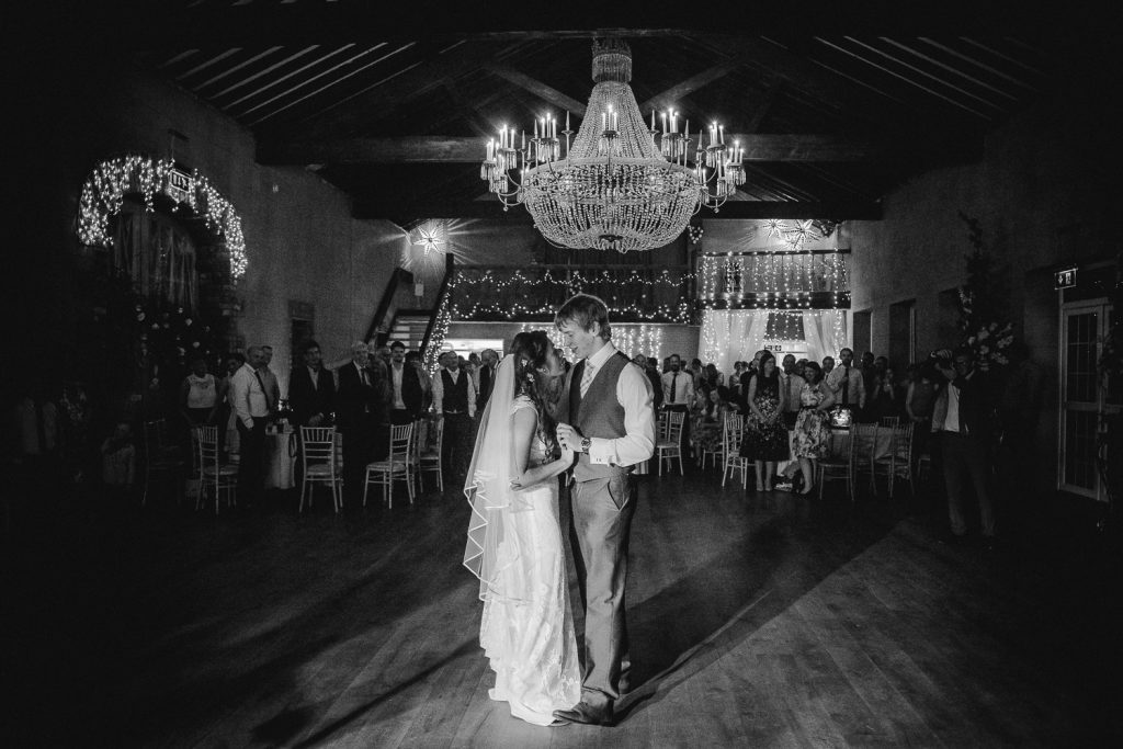 bride and groom have first dance at grace hall