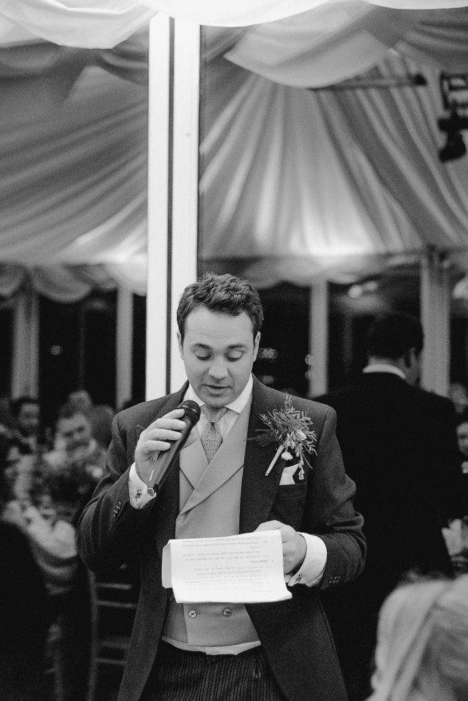 groom reading speech