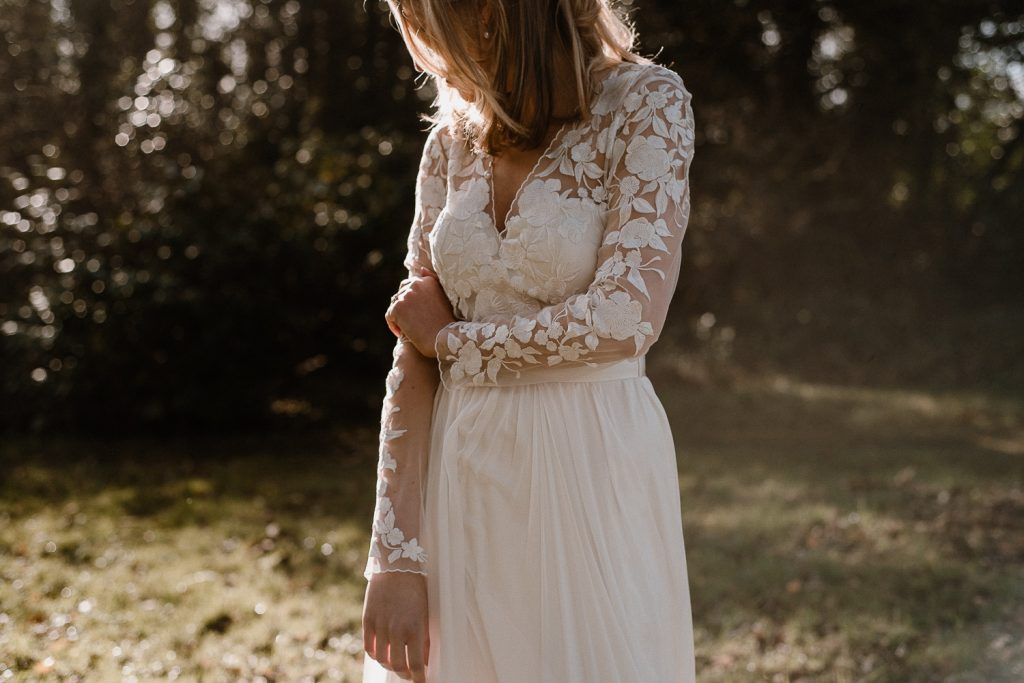 close up of brides lace sleeves