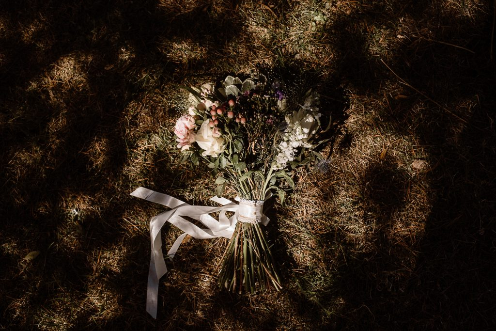 close up of brides flowers