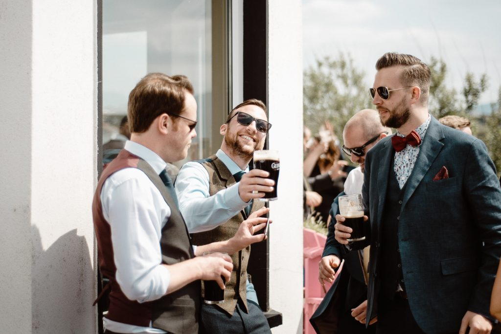 wedding guests drinking