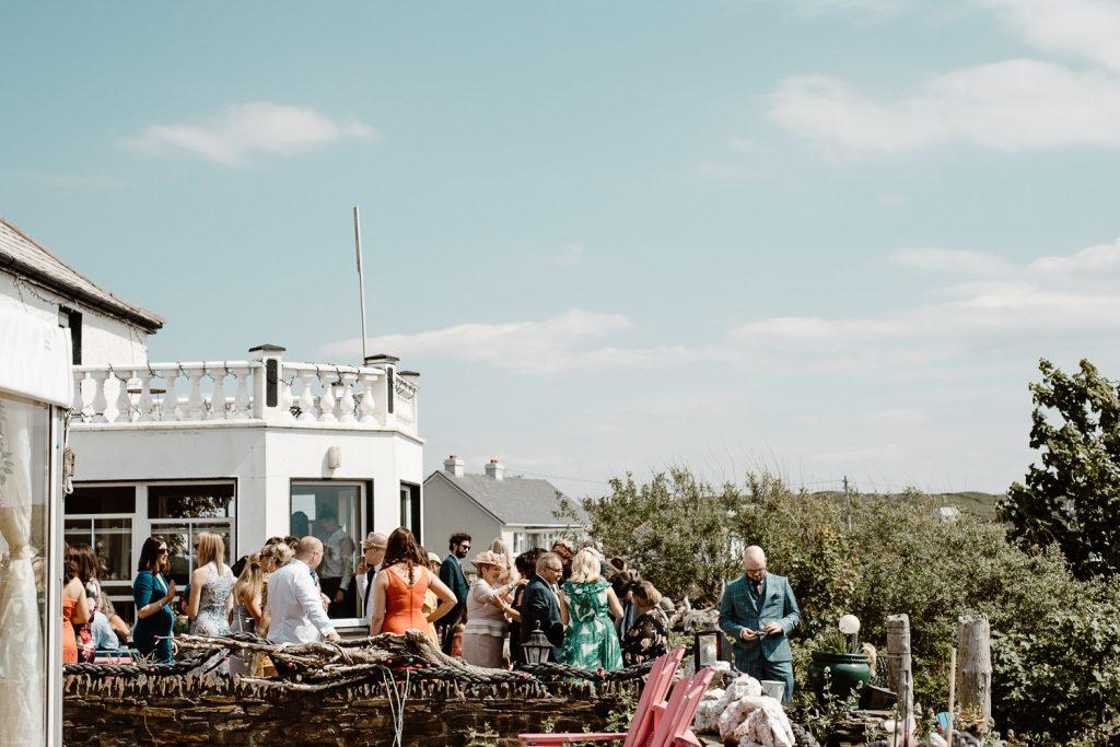 wedding guests at dawros bay house