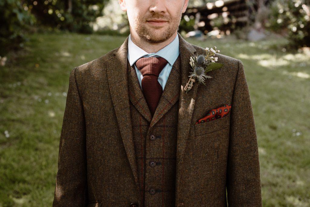 close up of grooms tie