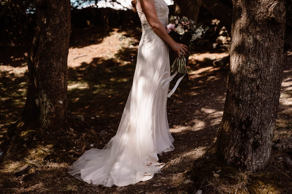 close up of the train of brides dress