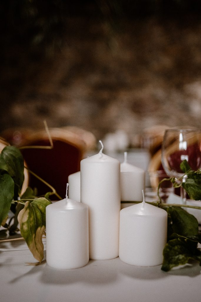 white pillar candles