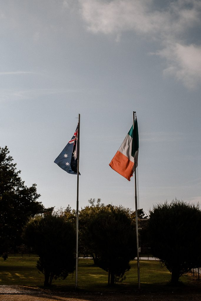 Australian flag and Irish Flag flying