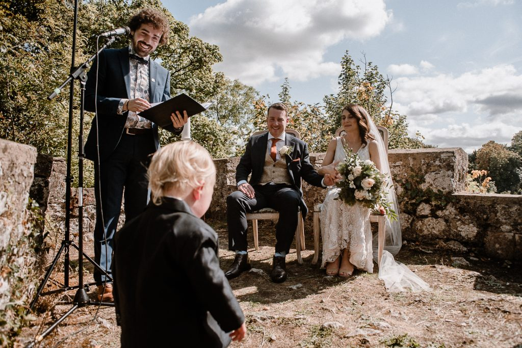 Bride and grooms son cried to sit with them