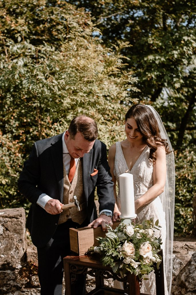 bride and groom make a memory box
