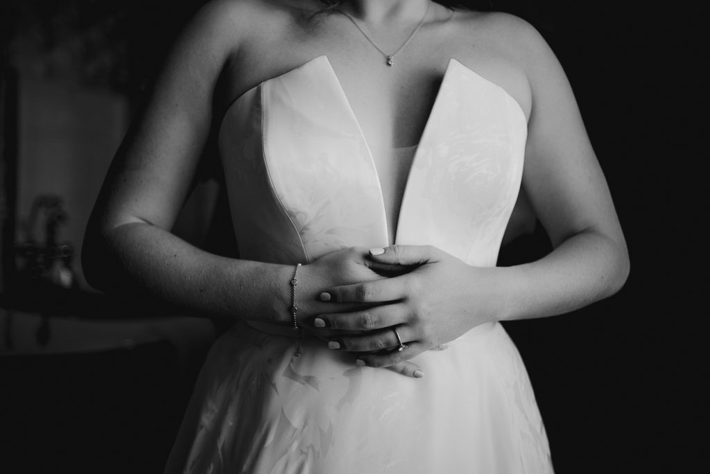 close up of brides hands